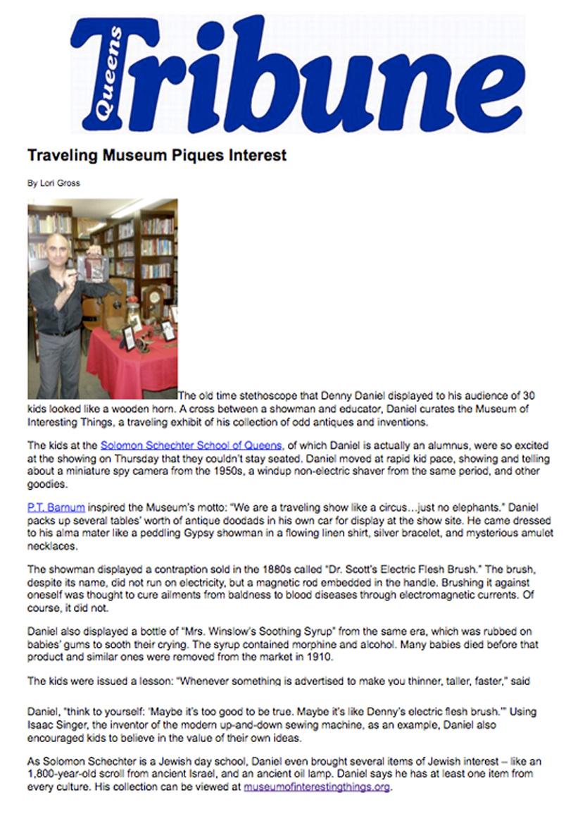 Denny Daniel - Museum of Interesting Things - NEWS